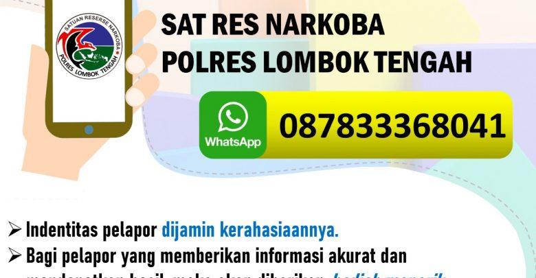 Satresnarkoba Polres Lombok Tengah Membuka Call Centre Narkoba