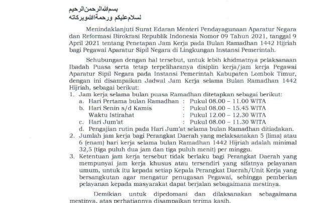 jadwal jam kerja selama bulan ramadhan 1442H kab lombok timur