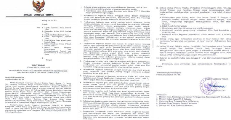 Pemkab Lotim Terapkan PPKM Mulai Hari Rabu 14 Juli 2021