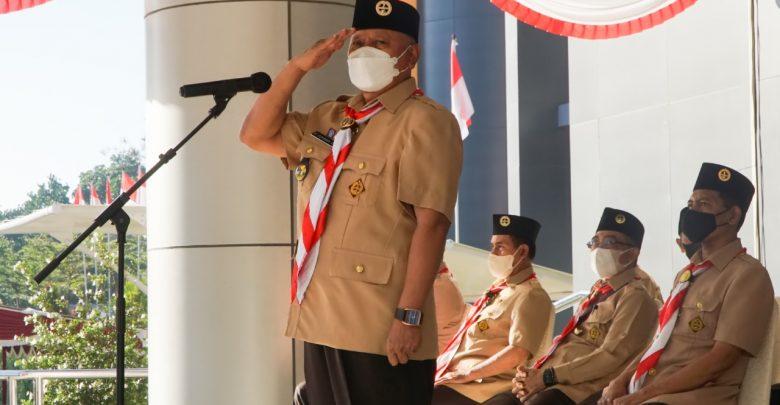 Bupati Lotim Sebagai Inspektur Upacara Peringatan Hari Pramuka ke-60
